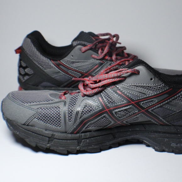 new styles 7ad5e ef577 ASICS Gel Kahana 8 Black Red Trail Running Shoes